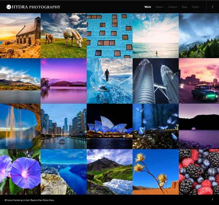 photography website demo by hydra