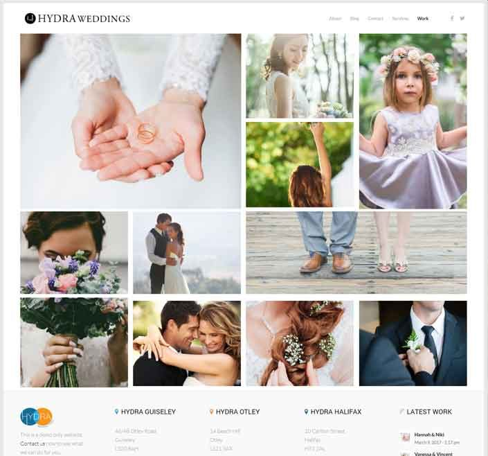 Wedding photography website demo by hydra
